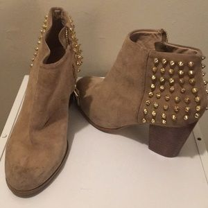 Gold spiky studded mid booties